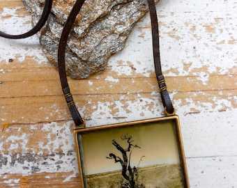 Arizona Necklace,Photo art pendant , sepia tone , antique brass pendant, Grand canyon in winter