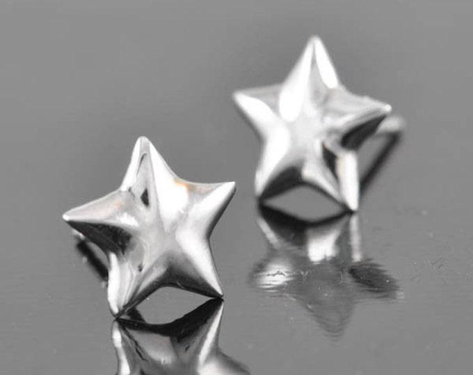 Star earring, sterling silver earring, stud earrings, eco friendly recycled silver