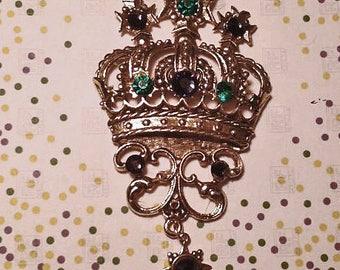 Mardi Gras Crown Pin Green and Purple  Rhinestones on Gold Setting