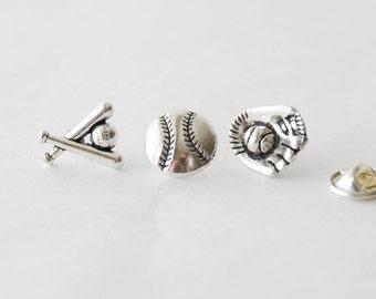 Baseball Tie PIns, Baseball Gift Set, Baseball Lapel Pins, Set of 3 Tie Pins, Baseball Pins, Coach Gifts, Baseball Gift, Sports Tie Tack