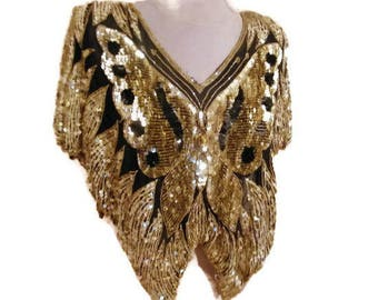 Vintage Gold Sequins Top women Disco Black Gold Top Festival Blouse embroidered silk blouse Butterfly shiny  embroidery top