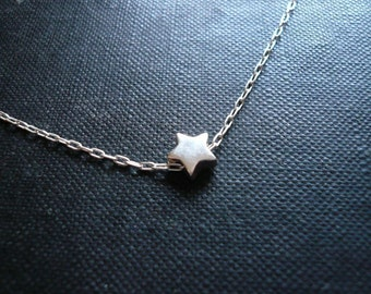 Tiny Silver Star Necklace in Sterling Silver - Sweet and Simple Dainty Star Necklace