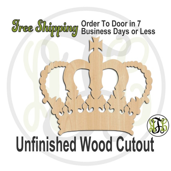 Crown 17- 24417- Cutout, unfinished, wood cutout, wood craft, laser cut shape, wood cut out, Door Hanger, wooden, wall art, ready to paint