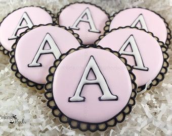 Monogram Cookies, Initial Decorated Sugar Cookies, Wedding Cookies, Bridal Cookies, Letter Cookies, Scalloped Cookies, Birthday Cookies