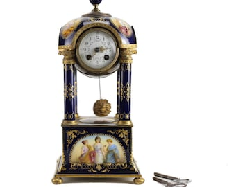 Antique Royal Vienna Hand Painted Porcelain & Bronze Mantel Clock, 19th Century
