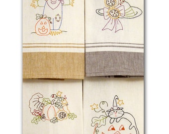 A Fall Sampler tea towel embroidery pattern by Cleo and Me