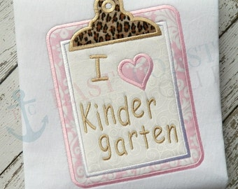 KINDERGARTEN CLIPBOARD machine embroidery design