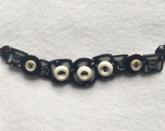 White on Black Button Bracelet