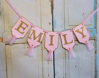 Custom Girl's Name Banner, Pink and Gold Banner with Rose Embossing, Baby Shower Banner, Girls Birthday Decoration, Girl Baby Shower Decor