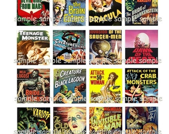INSTANT DOWNLOAD...Retro Horror Posters... Images Collage Sheet for Scrabble Tile Pendants ...Buy 3 get 1