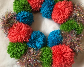 Pom Pom wreath wall hanging.