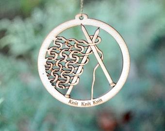 Knit Knit Knit Natural Wood Ornament