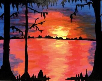"Art Print 8.5x11"" Louisiana Cypress Swamp at Sunset"