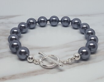 8mm Grey Shell Pearl Knotted bracelet with Sterling Silver Toggle Clasp
