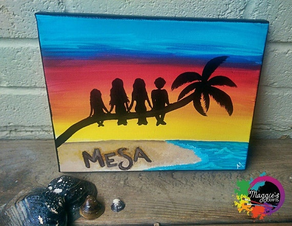 Items Similar To Sunset Silhouette Beach Canvas Painting Gift Ideas Room Decor On Etsy
