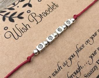 Beaded Flower Wish Bracelet, Make a Wish Bracelet, Beaded Bracelet, Wish Bracelet,  Friendship Bracelet, Gift for Her, Small Gift