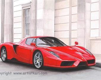 SALE Red Ferrari Enzo Signed Open Edition Print