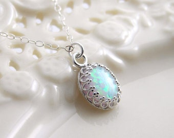 October Birthday. Opal Necklace. Sterling Silver Crown Bezel. Bridesmaid Gift. Simple Modern Jewelry by petitblue