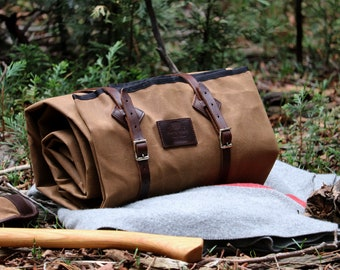 Rustic Waxed Canvas Bedroll, with leather roll straps