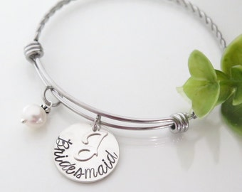 Personalized Bridesmaid Bracelet - Bridesmaid Gift - Bridal Party Gift - Personalized Bridesmaid Jewelry - Free Shipping