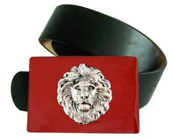 Lion Head Belt Buckle Inlaid in Hand Painted Red Enamel Neoclassic Antique Sterling Silver Leo with Color Options Available
