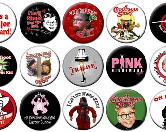 """2-1/4"""" -  A CHRISTMAS STORY  -  Lot of 15 Buttons - Pin Back Button Badge"""