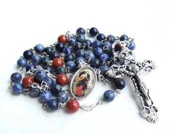 Our Lady Undoer of Knots Sodalite and Red Jasper Rosary