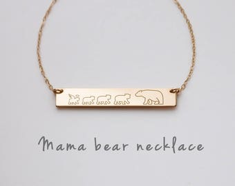 Mama Bear Necklace, Mama Cubbies, Mama Bear Baby Bear, Mom Family Necklace, New Mom Necklace, Mother's Day gift, Gift for Mom • NBH38x6B