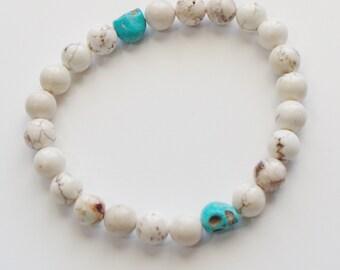 Howlite Stretch Bracelet with Skulls