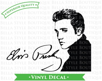 Elvis Presley Portrait and Signature VINYL DECAL