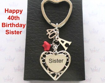 Sister 40th birthday gift - 40th keychain - Sister gift - Personalised 40th keyring - Personalised sister keyring - Sister keychain - UK