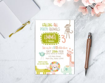Party Animals Invitation, Zoo Birthday, Animal Theme Birthday, Chalkboard Animal Birthday Invitation, Animal Parade Invitation, PRINTABLE