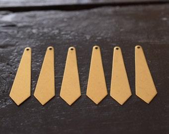 Blank Raw Brass tie shaped Pendants, 6pcs