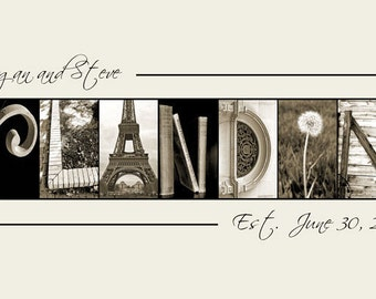 Personalized wedding Gift - Alphabet Photography - Photo Letter Art -  10x20 Print (unframed)