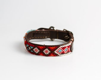XX-Small Collar, Handmade Multicolored, Handwoven, Leather Cat, Small Dog Collars, Mexican Leather Dog Collar, Leather Friendship Bracelet