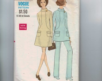 1960s Vintage Sewing Pattern Vogue 7683 Misses Maternity Dress or Tunic and Pants Size 14 Bust 36 1960s 60s
