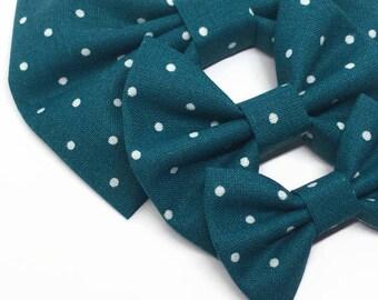 Teal Polka Dot Bow - Teal Fabric Bow - Polka Dot Hair Bow - Teal Hair Bow - Bow Nylon Headband - Girls Hair Bow - Fall Fabric Bow