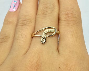 14k 10k Solid Gold Snake Ring - Baby Snake Ring - Gold Pinky Ring Gold Thumb Ring - Gold knuckle Ring - Gold Midi Ring
