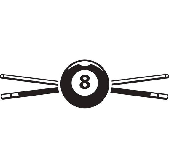Billiards Pool Logo 3 Sticks Crossed Eight Ball Sports Game