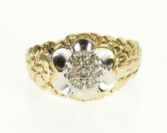 10k Diamond Cluster Scalloped Trim Nugget Texture Ring Gold