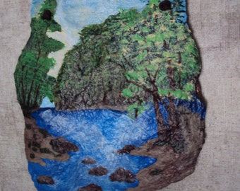Gentle Waterfall, gift, hand painted slate, Mother's Day