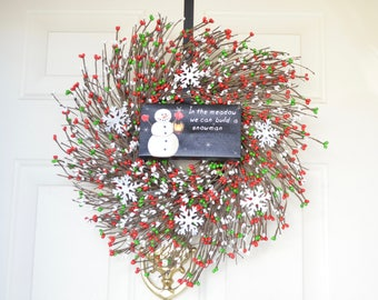 Snowman sign wreath In the Meadow we can build a Snowman Whimsical Christmas wreath Light up Lantern Holiday door Red green white berries