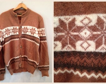 SALE----Vintage -Tan Cream Christmas Sweater Cardigan / Holiday Sweater/ Festive Sweater - Pure New Wool - By Kitz Pichlar - Made in Austria