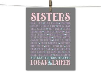 Twin sisters wall art - baby sprinkle gift - twin girls nursery wall art - sisters subway art - girls room decorations