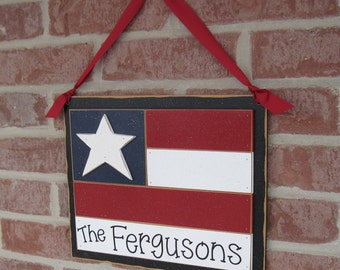 Large PERSONALIZED HANGING FLAG with ribbon for July 4th, wall, door hanger, and americana home decor
