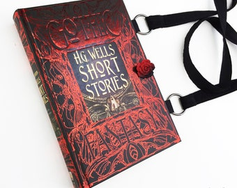 HG Wells Gothic Fantasy Book Purse - Sci Fi Book Clutch - The Time Machine Collector - Invisible Man Book Cover Handbag - Nerdy Gift