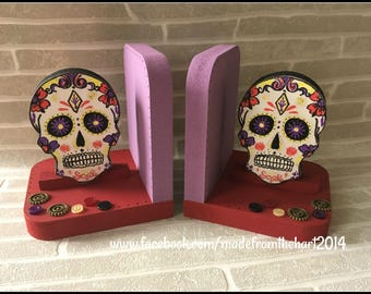 Sugar Skull Bookend Set