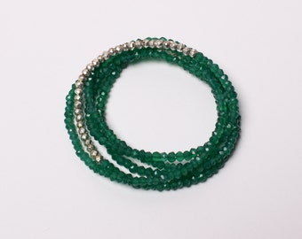 Green Onyx Long Rondelle Necklace, Wrap Bracelet, Layering Necklace, Lula Designs