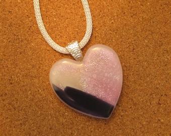 Pink Dichroic Heart Pendant - Fused Glass Heart - Dichroic Jewelry - Fused Glass Jewelry - Dichroic Necklace - Dichroic Heart