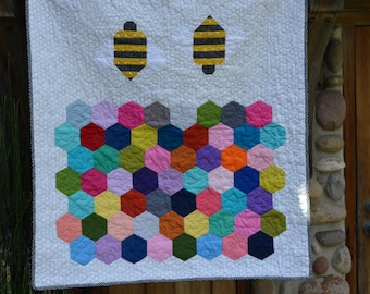 Bee's and honey comb Quilt / Super soft Minky backing / Toddlers Blanket / Baby shower Gift / Snuggle Quilt/ Bright and Cheery